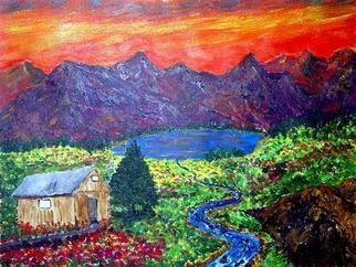 James Parker; Mountian Cabin Sunset, 2003, Original Painting Acrylic, 11 x 9 inches. Artwork description: 241 Colorful sunset in a fantasy mountain setting. ...