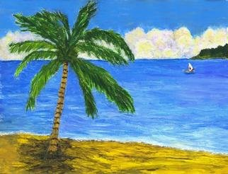 James Parker; Palm And Boat, 2003, Original Painting Acrylic, 10 x 7 inches. Artwork description: 241 Bright colorful painting of a palm on the shore with a bright blue sea and boat in the distance. ...