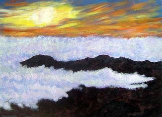 James Parker; Sea Of Clouds Sunset, 2003, Original Painting Acrylic, 11 x 9 inches. Artwork description: 241 Sunset over the cloud filled mountains of Oaxaca, Mexico. ...