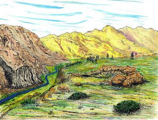 James Parker; Yellow Mountain Valley, 2002, Original Mixed Media, 6 x 8 inches. Artwork description: 241 A little fantasy scene with yellow mountains and a stream cutting through the valley. ...