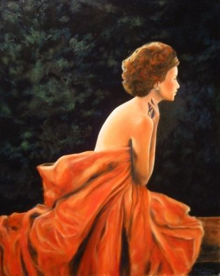 Jane Friday; Evening Twilight, 2008, Original Painting Oil, 16 x 20 inches. Artwork description: 241  Draped woman sitting on a bench at twilight time. ...