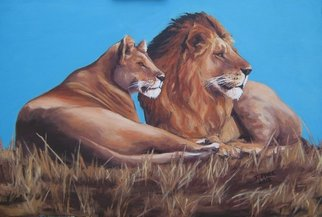 Janet Page; Lioe And Lioness Resting, 2013, Original Painting Oil, 90 x 60 cm. Artwork description: 241   Wildlife, Lion, Lioness, Love, King of the BeastsCats, Big Cats, African Lion,   ...