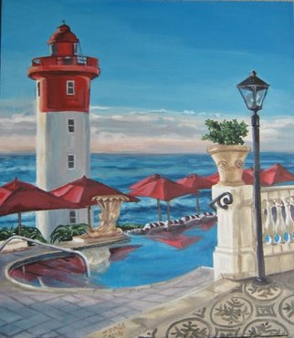 Janet Page; The Lighthouse View From ..., 2014, Original Painting Oil, 64 x 73 cm. Artwork description: 241    Lighthouse, sky, sea, shoreline, African seascape, Umhlanga Rocks Lighthouse, Durban, South Africa  ...
