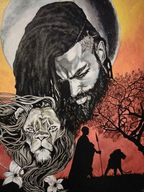 Janice Park; Warriors Path, 2018, Original Painting Acrylic, 24 x 30 inches. Artwork description: 241 African American male and lion watching over a warrior...