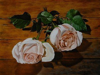 Jan Teunissen; Roses On Wood  , 2010, Original Painting Oil, 40 x 30 cm. Artwork description: 241 Roses on woodOilpainting on board...