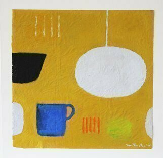 Jan-Thomas Olund; Blue Cup, 2019, Original Painting Oil, 36 x 35 cm. Artwork description: 241 Blue cup is a painting on waxed paper, compositions made during the period 2017- 2019.  Work inspired of structur simpelness and space.  The painting is 36x35 cm mounted on acid- free cardboard 40x40 cm...