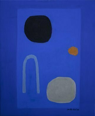 Jan-Thomas Olund; Blue No 4, 2020, Original Painting Oil, 38 x 46 cm. Artwork description: 241 Ultramarine and cobalt blue two colors that form the basis for a new series of paintings.  Blue colors is searching simple shapes in a playful no. 4...
