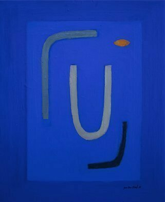 Jan-Thomas Olund; Blue No I, 2020, Original Painting Oil, 38 x 48 cm. Artwork description: 241 Ultramarine and cobalt blue two colors that form the basis for a new series of paintings. Blue colors is searching simple shapes in a playful Blue no. 1...