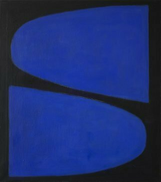 Jan-Thomas Olund; I Say Tip Tap, 2017, Original Painting Oil, 46 x 50 cm. Artwork description: 241 Two blue forms the coloring of colors with light and darkness Oil on canvas. ...
