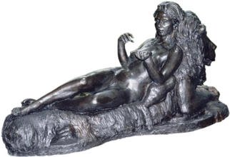 Bruce Naigles; The Empress, 1997, Original Sculpture Bronze, 18 x 27 inches. Artwork description: 241 The Empress rests on the throne of the lion, symbolic of the power of man' s animalistic nature. She has tamed the king of this territory and has rightfully revealed herself as the empress of life' s forces. You will find another picture further in the portfolio ...