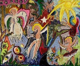 Jose Acosta; 3 Cuban Angels, 2007, Original Painting Acrylic, 42 x 36 inches.