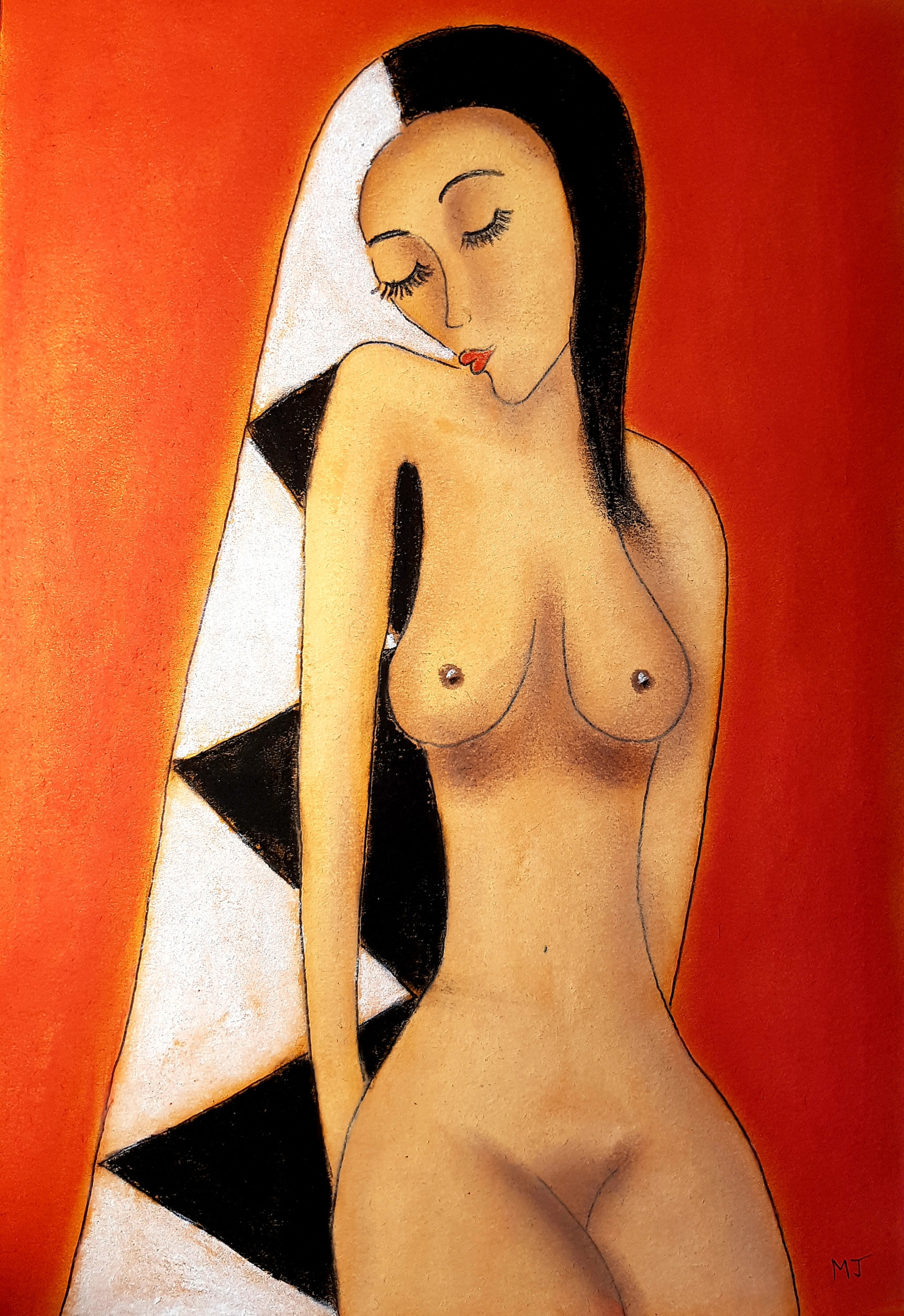 Javorkova Marie; She Is One, 2005, Original Painting Oil, 30 x 21 cm.