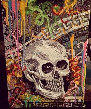 Jamie Boyatsis; Afterlife, 2018, Original Mixed Media, 18 x 24 inches. Artwork description: 241 Using only materials that have been recycled, the canvas, oil and acrylic paint, cigar and cigarette wrappers all have found their afterlife in the artwork, while the content of a skull and tobacco products hinting at the potential cause of someoneaEURtms afterlife ...