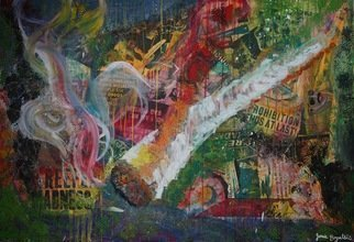 Jamie Boyatsis; Harmony And Destruction, 2016, Original Painting Oil, 5 x 3 feet. Artwork description: 241 This piece was a collage of various images, portraying harmony and destruction involved in the war on drugs, printed on a canvas with abstract oil paint on top. ...