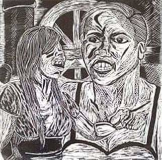 Jamie Boyatsis; Sorry I Slept With Your Man, 2016, Original Printmaking Linoleum, 12 x 12 inches. Artwork description: 241 Images and titles from Jerry springer episodes inspired this print ...