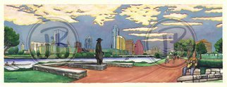 Jay Braden; Downtown Austin In 180, 2010, Original Painting Other, 26 x 10 inches. Artwork description: 241   Austin skyline from south bank of Town Lake - Stevie Ray Vaughan statue, buildings, bats, etc. Created for the Austin Visitor's Center aEUR