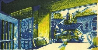 Jay Braden; Satellite Hatchback In Pi..., 2006, Original Printmaking Lithography, 9 x 5 inches. Artwork description: 241 Two- color ( Blue and Yellow) Lithograph...
