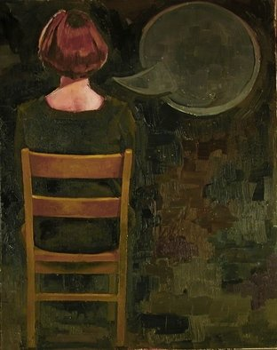 Jessica Burke; Seated And Slated For This, 2005, Original Painting Oil, 16 x 20 inches.