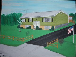 John Chicoine; Niverville Home, 1976, Original Painting Oil, 26 x 34 inches.