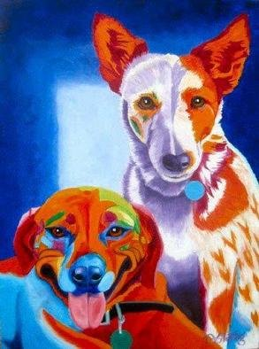 Joanne Deshong; Maggie And Sadie, 2004, Original Painting Oil, 12 x 16 inches. Artwork description: 241 A painting to capture the personalities of these two pets; the slightly crazed goofiness of maggie, the red dog, and the elegance of Sadie, the cow dog....
