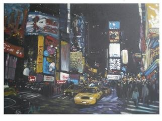 Jonathan Pratt; Times Square, 2011, Original Painting Oil, 36 x 26 inches. Artwork description: 241  city life in new york city ...