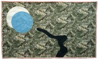Jean Judd; Moon Shadow, 2015, Original Textile, 41.3 x 24.7 inches. Artwork description: 241  The white and blue moons were design elements from the start and I would move them around the artwork from time to time. The addition of the river didni? 1/2t come about until October of 2014. The textural hand stitching design which gives the piece visual as ...