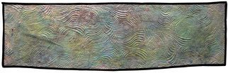 Jean Judd; Sound Waves 3 Ionosphere, 2016, Original Textile, 43.2 x 13.2 inches. Artwork description: 241  This piece continues the ebb and flow of waves that sparked this series. The Ionosphere is the portion of the atmosphere between 31 miles and 250 miles from the surface of the earth. It contains gases that have been ionized by ultraviolet rays and x- rays from ...