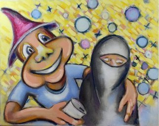 Jeff Turner; can t we just get along, 2018, Original Painting Oil, 20 x 16 inches. Artwork description: 241 American and Muslim female...