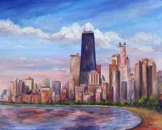 Jeff Pittman; Chicago Skyline John Hanc..., 2007, Original Printmaking Giclee, 20 x 16 inches. Artwork description: 241  Colorful rendering  of the Chicago skyline with the John Hancock tower as viewed from the north shore. ...