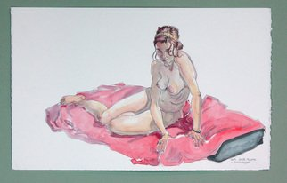 Jeffrey Dickinson; Samjune2010, 2010, Original Watercolor, 16 x 10 inches. Artwork description: 241 Pencil and watercolor of nude model done in the studio. ...
