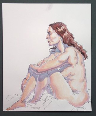 Jeffrey Dickinson; Saramar10, 2010, Original Watercolor, 14 x 17 inches. Artwork description: 241 pencil and watercolor done from live model...