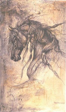 Jeffrey Foster Thomas; Rennaissance Horse, 2005, Original Other, 22 x 36 inches. Artwork description: 241  Neo- Fresco. Plaster on wood with organic and other stains. Depicts a Friesian horse. ...