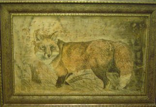 Jeffrey Foster Thomas; The Kill, 2006, Original Other, 36 x 24 inches. Artwork description: 241  Neo- Fresco, plaster on wood with organic and other stains. Depicts a red fox after a kill. The fox is usually shown as the hunted. This piece shows the beautiful woodland creature as the hunter. ...