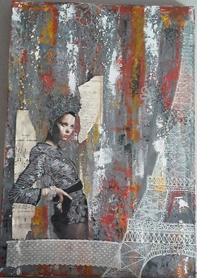 Joelle Bos; Parisienne, 2016, Original Mixed Media, 37 x 55 cm. Artwork description: 241 Mixed media artwork, acrylic paint, collage, paper, lace, felt...