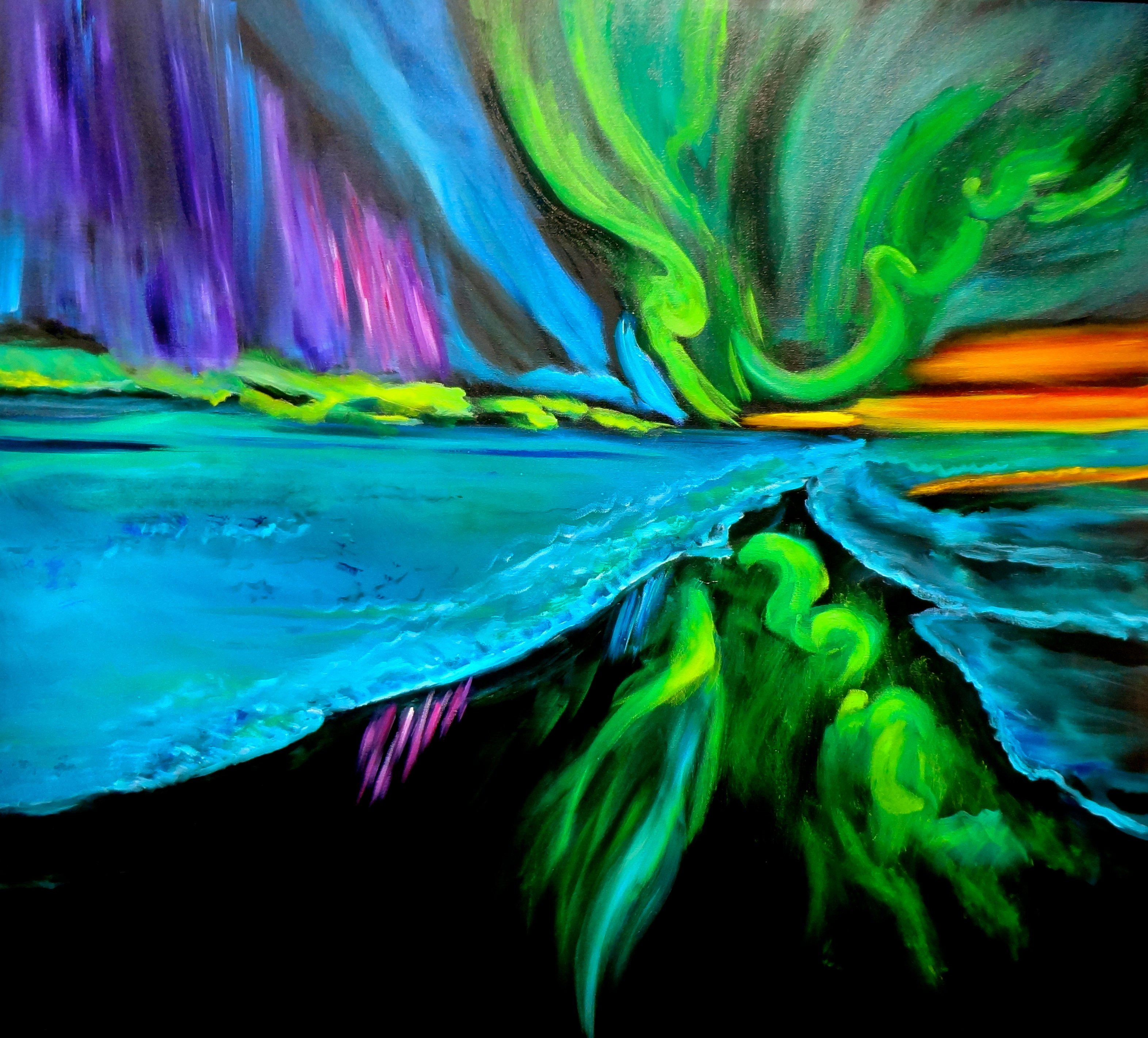 Jenny Jonah; Northern Lights, 2020, Original Painting Oil, 36 x 33 inches. Artwork description: 241 Original oil painting on stretched canvas.  Ready to hang.  Colorful light aurora borealis...