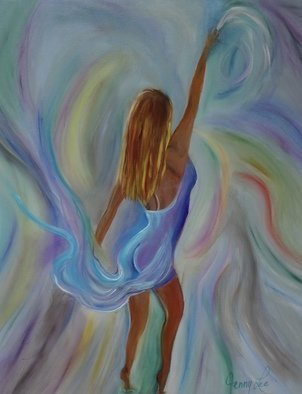 Jenny Jonah; Dancer, 2020, Original Painting Oil, 30 x 24 inches. Artwork description: 241 Original oil painting on stretched canvas.  Color swirls all around the beautiful dancer...
