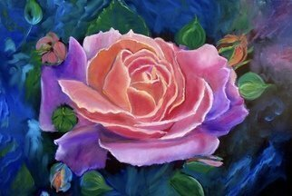 Jenny Jonah; Gala Rose, 2020, Original Painting Oil, 36 x 24 inches. Artwork description: 241 Original oil painting on stretched canvas.  Colors swirl across this canvas of a large gala pink rose. ...