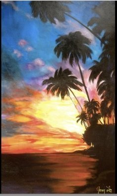 Jenny Jonah; Hawaiian Sunset, 2020, Original Painting Oil, 30 x 48 inches. Artwork description: 241 Original oil painting on stretched canvas  unframed.  Brilliant Hawaiian sunset...