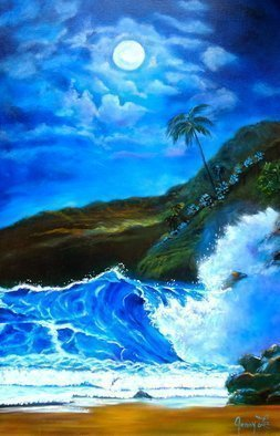 Jenny Jonah; Moonlit Hawaiian Night, 2019, Original Painting Oil, 36 x 24 inches. Artwork description: 241 Original oil painting on stretched canvas.  Moonlight reflections bounce off water and mountain details. ...