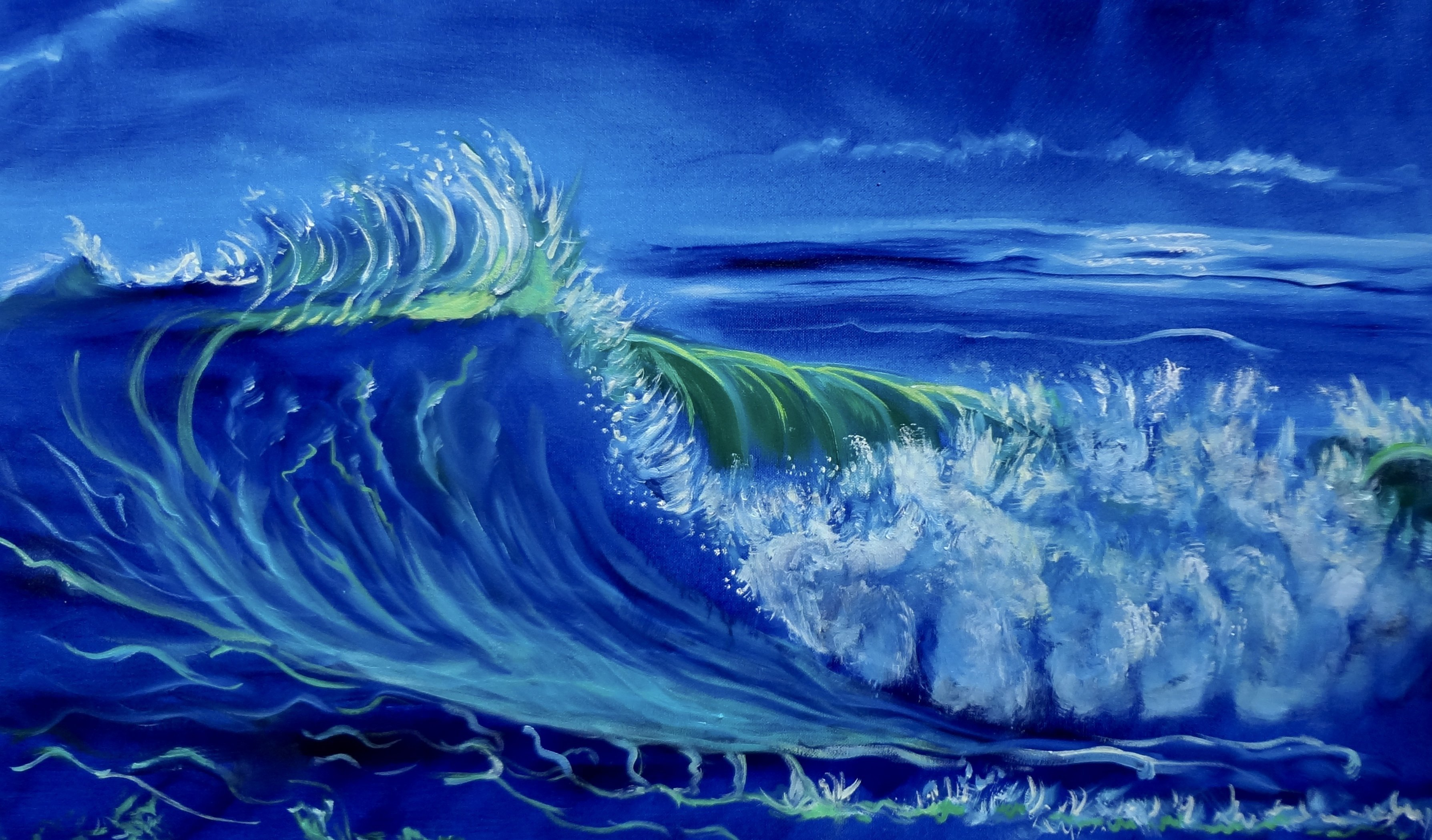 Jenny Jonah; North Shore Oahu Wave, 2019, Original Painting Oil, 32 x 18 inches. Artwork description: 241 Original oil painting on stretched canvas, unframed.  Splashing wves on the tropical shores of Oahu where millions of surfers converge every winter to watch the surfing competitions. ...