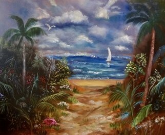 Jenny Jonah; Path To The Beach, 2020, Original Painting Oil, 30 x 24 inches. Artwork description: 241 ORIGINAL OIL PAINTING ON STRETCHED CANVAS.  SANDY BEACH LEADING TO THETROPICAL OCEAN PUNCTUATED BY PALM TREES AND BEAUTIFUL GARDEN FAUNA ON EACH SIDE OF THE PATH.  SAIL BOAT IN THE DISTANCE.  BEAUTIFUL SUNNY SKIES, A PERFECT DAY FOR SWIMMING.  UNFRAMED...