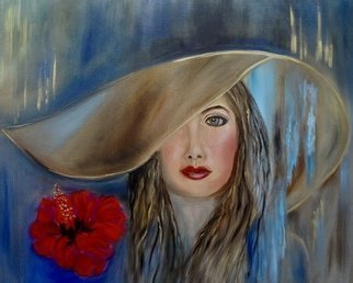 Jenny Jonah; Queen Bee, 2020, Original Painting Oil, 30 x 24 inches. Artwork description: 241 Original oil painting on stretched canvas unframed.  Beauty with a big floppy hat.  ...