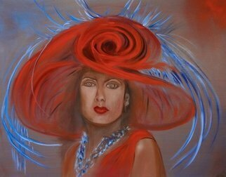 Jenny Jonah; Red Hat, 2020, Original Painting Oil, 30 x 24 inches. Artwork description: 241 Original oil painting on stretched canvas, unframed.  A lovely portrait of the lady with the red hat at the Kentucky Derby...