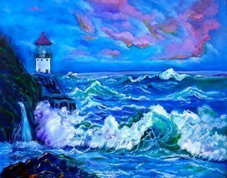 Jenny Jonah; Tropical Lighthouse, 2020, Original Painting Oil, 30 x 24 inches. Artwork description: 241 Original oil painting on stretched canvas.  Unframed.  Crashing waves in blue and soft violet come to shore in this colorful seascape. ...