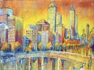 Jeremy Holton; The Golden City, 2001, Original Painting Oil, 120 x 91 cm. Artwork description: 241 I used to live in Melbourne over 20 years ago and I haven' t been back for a long time.  I had heard about the transformation of the South Bank but when I saw it I was very impressed.  A drab city had been turned into a ...