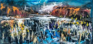 Jeremy Holton; The Wet Season Australia, 2020, Original Painting Oil, 61 x 30 cm. Artwork description: 241 Australia is a dry desert continent but in the North when the monsoon arrives it wet.  In this painting I tried to capture the watery scene at Kakadu...