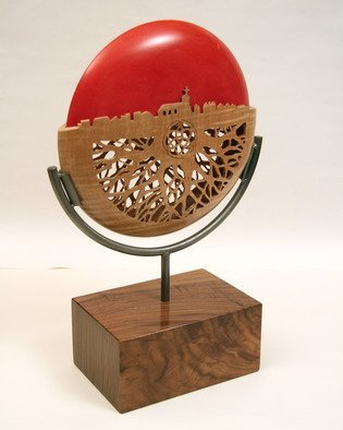 Jerry Cox; roots run deep, 2016, Original Sculpture Wood, 10 x 15 inches. Artwork description: 241 The roots of a community is the church. Curly maple, basswood, iron and walnut base, pierced hollow form...