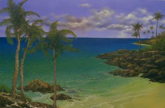 Jerry Sauls; Along The Rocky Coast, 2011, Original Painting Oil, 36 x 24 inches. Artwork description: 241  The focal point of this painting is the merging of the calm tropical waters with the sculptured rocks and sandy beaches. The changing colors, influenced by water depth, reflections, shadows and the wet sands set the tone for the scene created by the elements of nature.   ...
