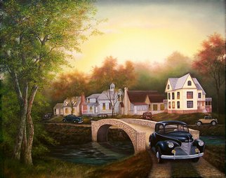 Jerry Sauls; Americas Past  1941, 2007, Original Painting Oil, 30 x 24 inches. Artwork description: 241  Journey back to a simpler time and place in small town America characterized by close families and friendly neighbors soon to experience dramatic changes resulting from the historic attack at Pearl Harbor. ...