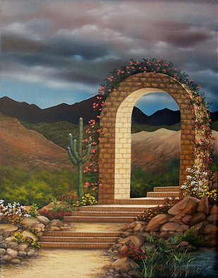 Jerry Sauls; Arched Walkway, 2008, Original Painting Oil, 22 x 28 inches. Artwork description: 241  The stunning view of the desert southwest with its contrasting vivid colors make the long and difficult walk up the gravel and brick stairway to the Villa more than worth the effort.   ...